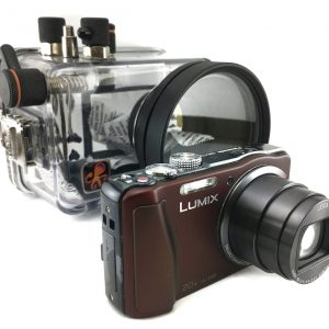 professional diving camera for rental labuan bajo, labuan bajo rental center, lumix tz30 komodo, underwater housing, diving komodo, waterproof housing for rent
